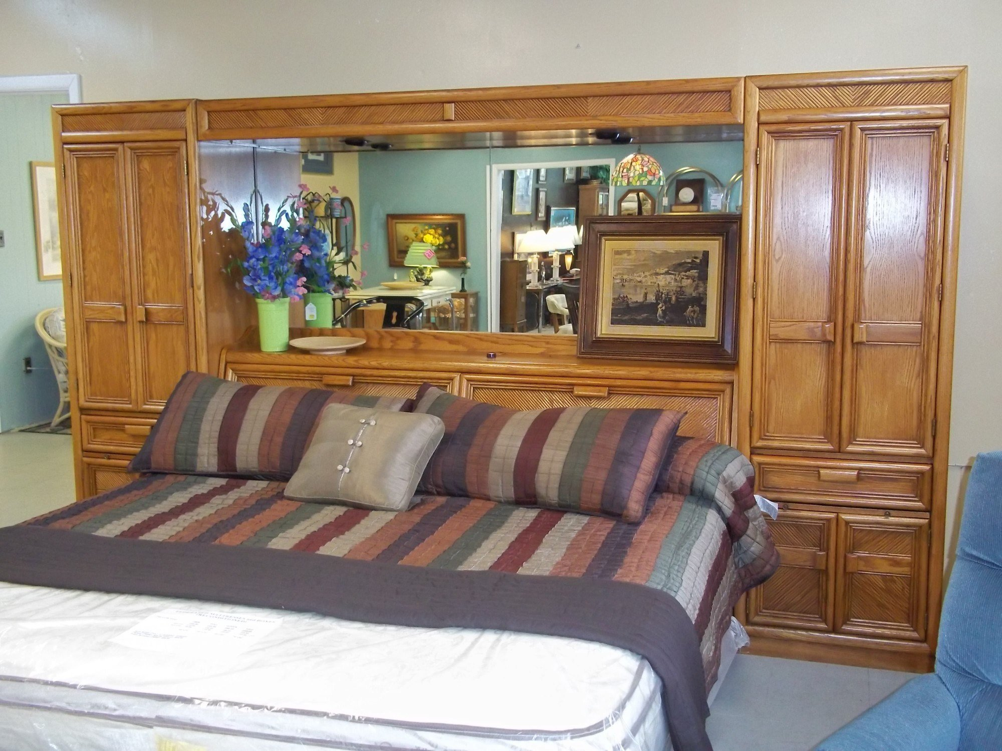 Best W 1 8739 Oak King Size Mirrored And Lighted Headboard With Pictures