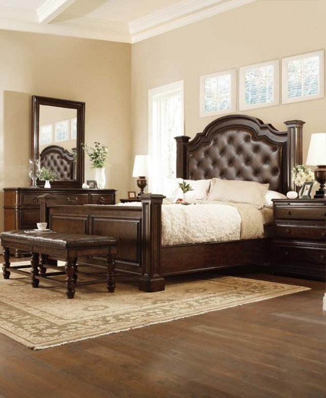 Best Leather Tufted Poster Bed Denver Bedroom Furniture With Pictures