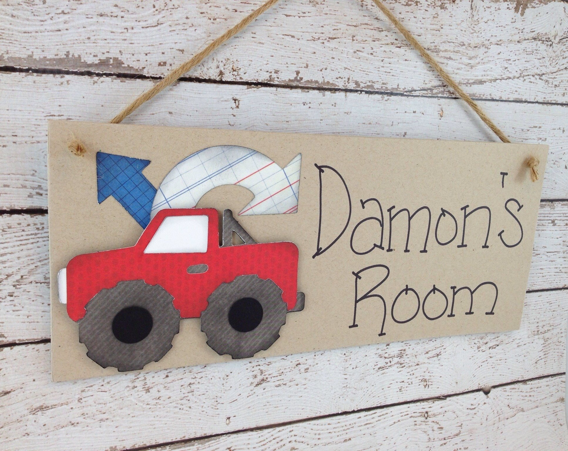 Best Personalized Kids Bedroom Door Sign Red Truck On Luulla With Pictures