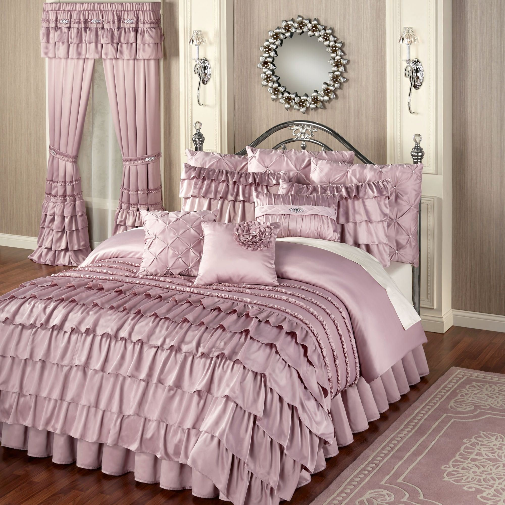 Best Enchante Dusty Mauve Ruffled Comforter Bedding With Pictures