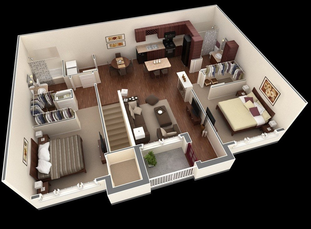 Best 2 Bedroom Apartment House Plans Smiuchin With Pictures