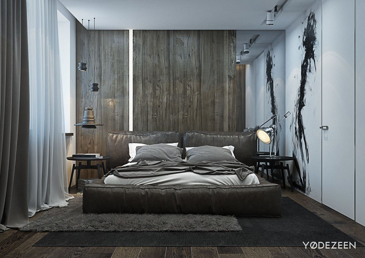 Best A Dark And Calming Bachelor Bad With Natural Wood And Concrete With Pictures