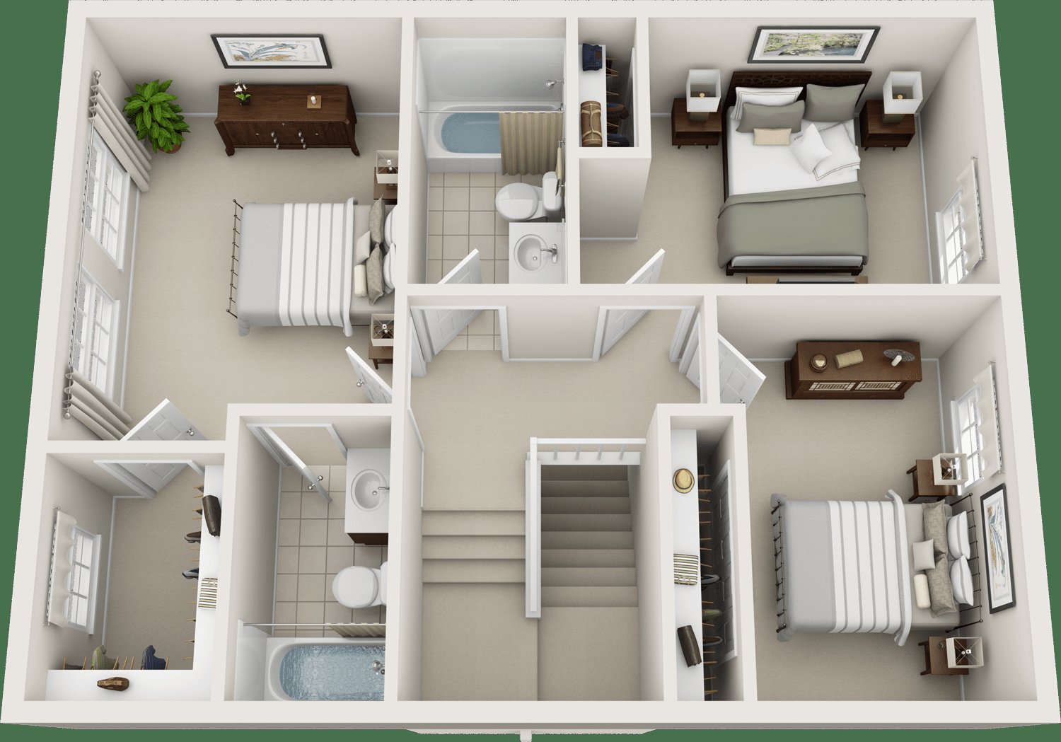 Best Three Bedroom Floor Plans Charleston Hall Apartments With Pictures