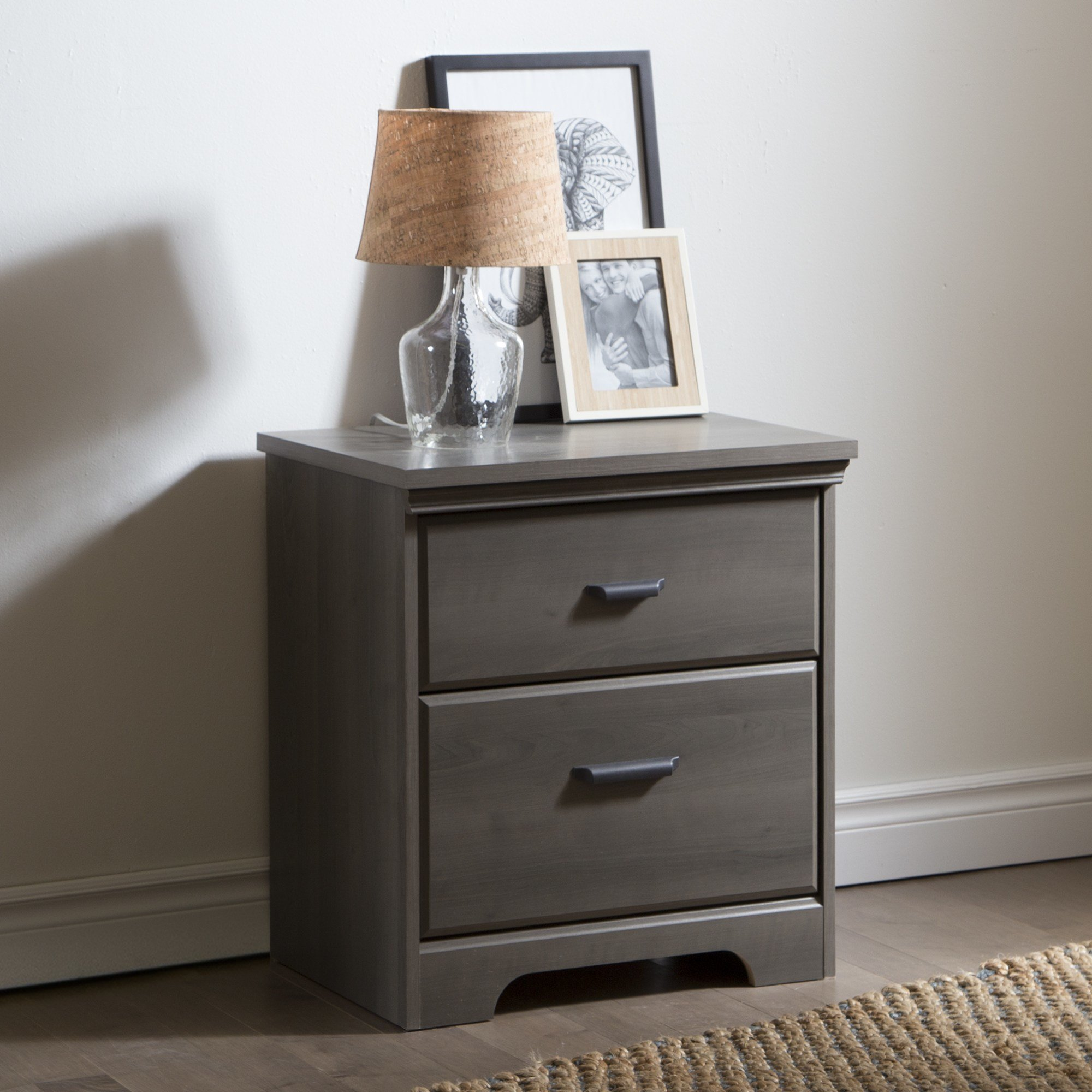Best South Shore Versa 2 Drawer Night Stand Gray Maple Home Furniture Bedroom Furniture With Pictures