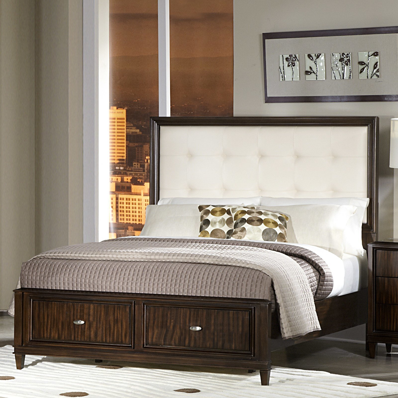 Best Oxford Creek Sofia White Bonded Leather Queen Size Storage With Pictures