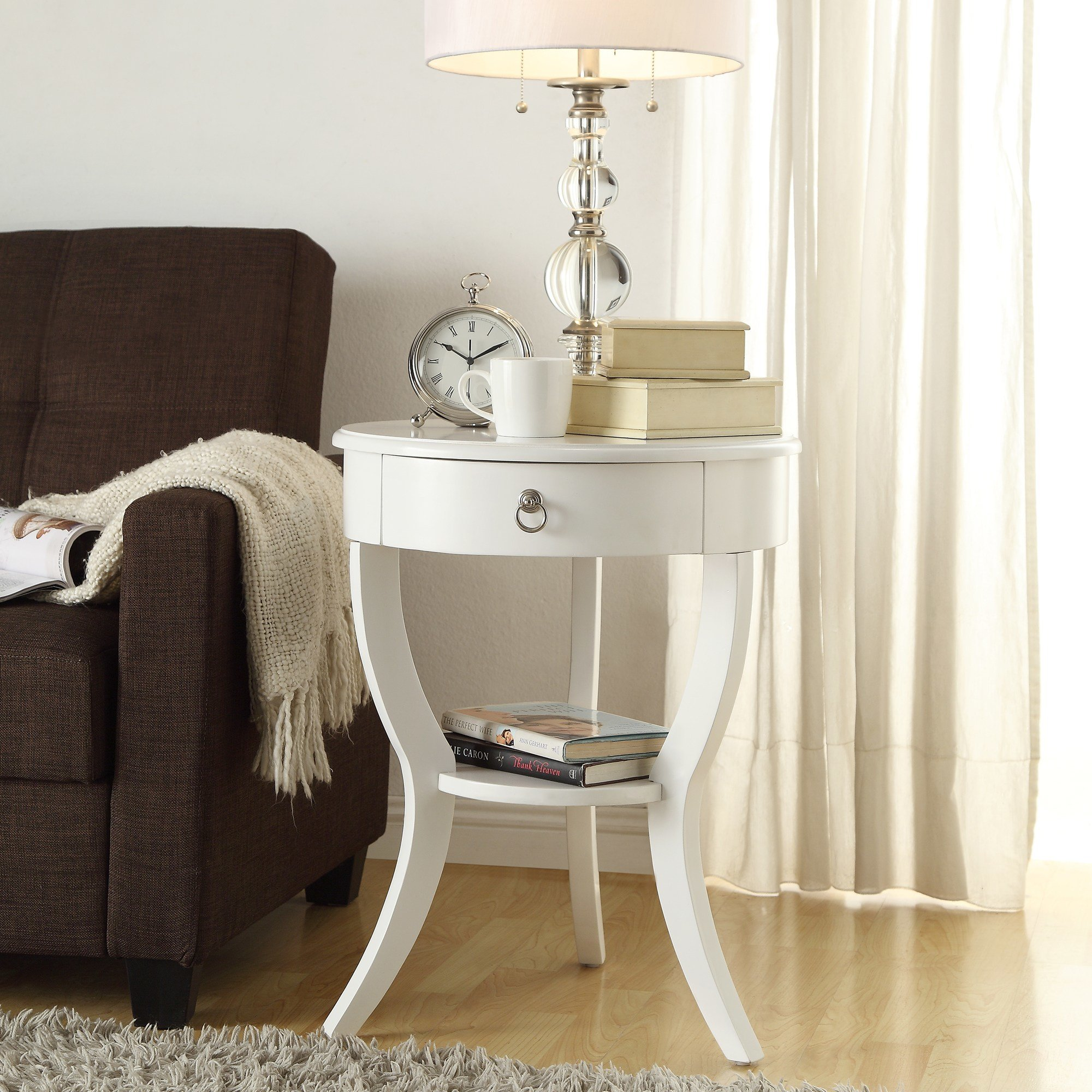 Best Oxford Creek Hastings White Accent Table Light Finish With Pictures