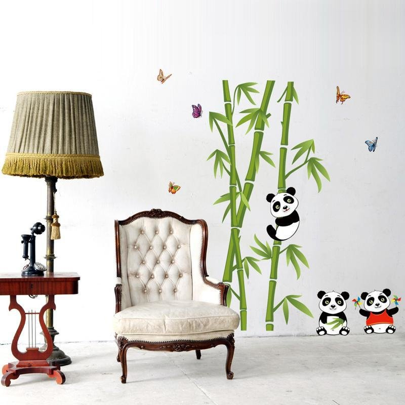 Best Cute Panda Bamboo Diy Vinyl Wall Stickers Home Decor Art With Pictures