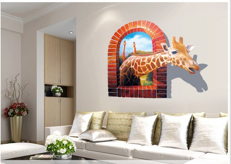 Best Huge Large Window 3D Giraffe Wall Stickers Decal Art Mural Decal Wallpaper Home Living Room With Pictures