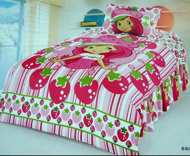 Best Strawberry Shortcake Bedroom Comforter Set Twin Bedding Set Girls Duvet Cover Kids Cartoon Quilt With Pictures