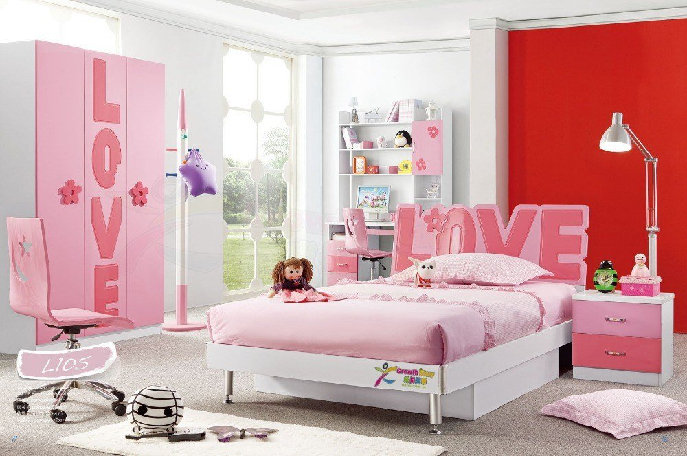 Best Hot Sale China Modern Lovely Kid Sets Furniture Girls Popular Pink Bedroom Set L105 In Bedroom With Pictures
