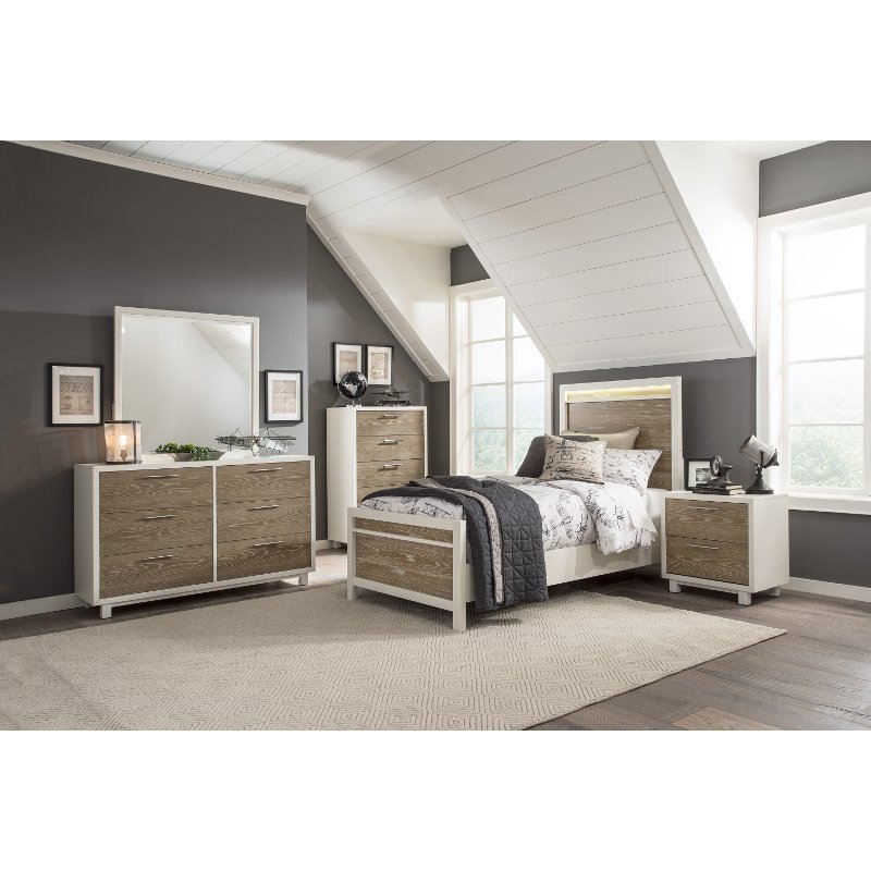 Best White And Oak 4 Piece Twin Bedroom Set Brampton Rc With Pictures