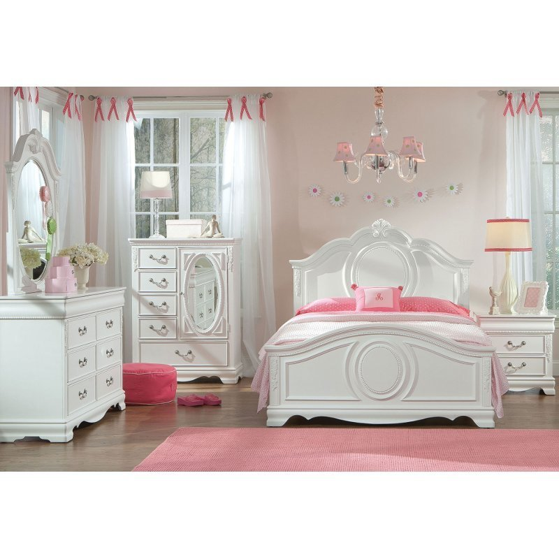 Best White Traditional 6 Piece Twin Bedroom Set Jessica Rc With Pictures