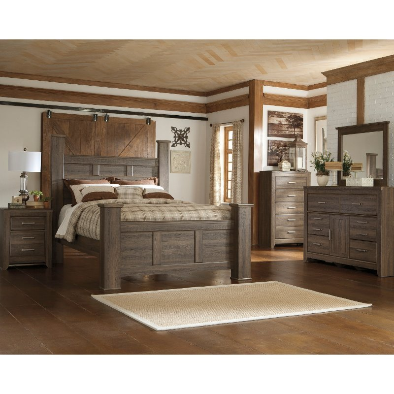 Best Fairfax Driftwood Rustic Modern 6 Piece Queen Bedroom Set With Pictures