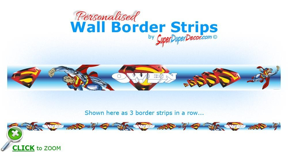 Best Superman Personalised Wall Border Strips Children Boys With Pictures