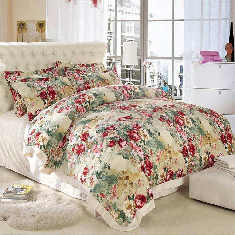 Best Country Style Flower Print Sandedcloth Material 4 Piece Bedding Sets Beddinginn Com With Pictures