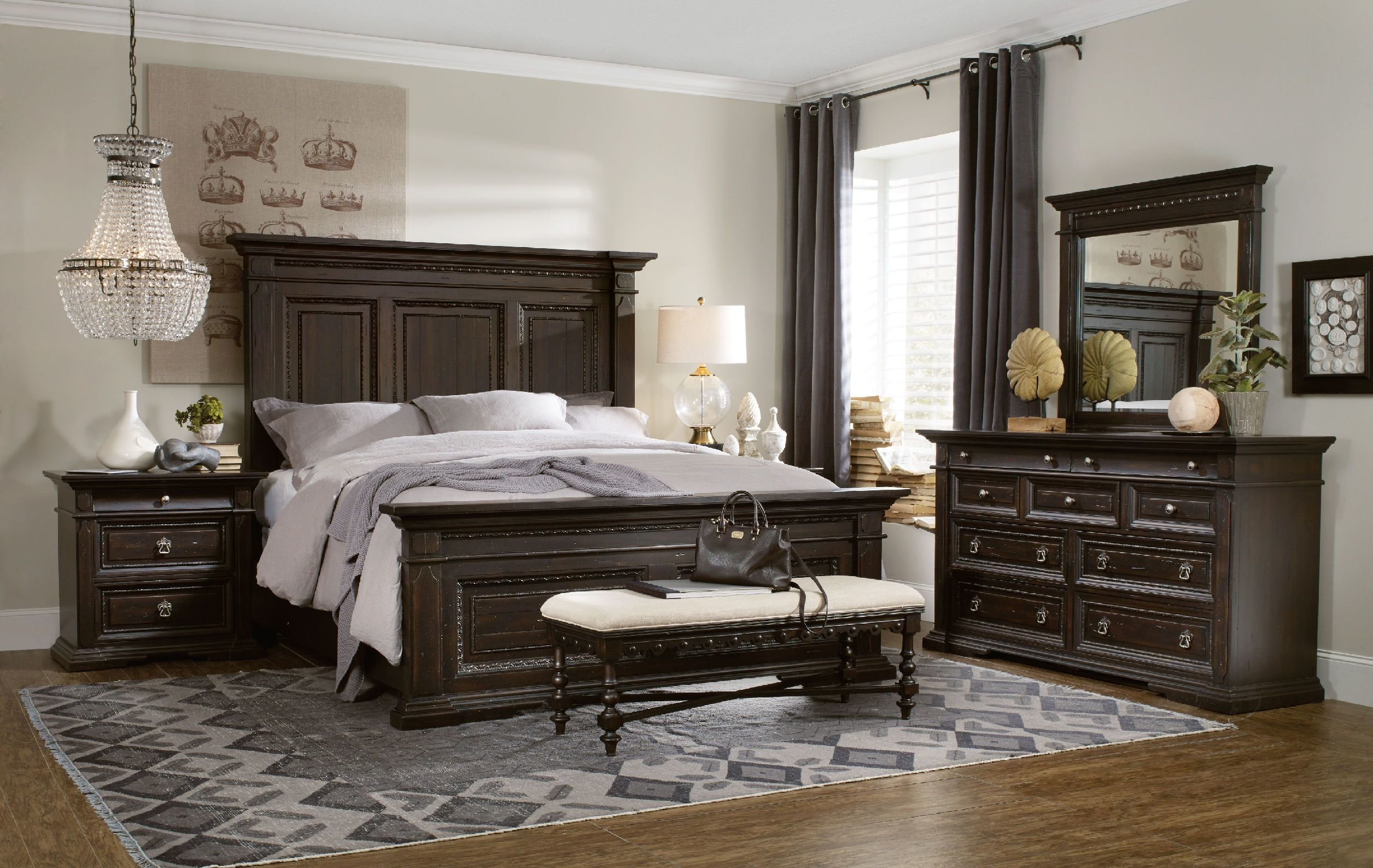 Best H**K*R Furniture Bedroom Treviso King Panel Bed 5374 90266 With Pictures