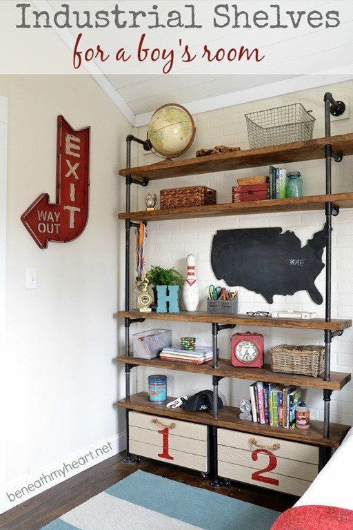 Best Industrial Shelves For A Boy's Room Beneath My Heart With Pictures
