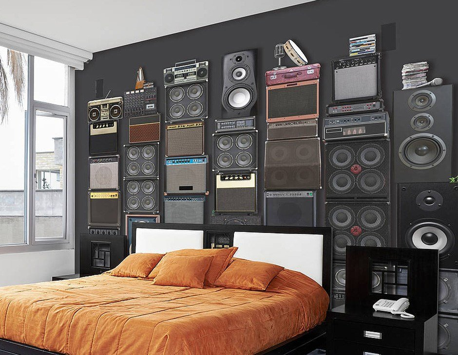 Best Music Speaker Stack Self Adhesive Wallpaper Contemporary With Pictures