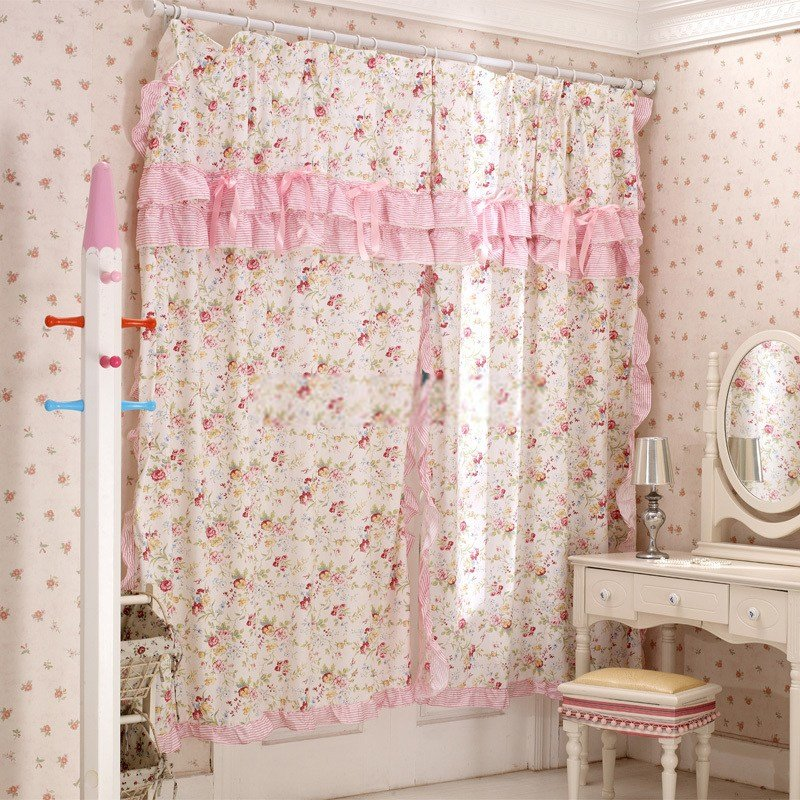 Best Sweet Floral Girl Bedroom Curtains With Lace Rims With Pictures