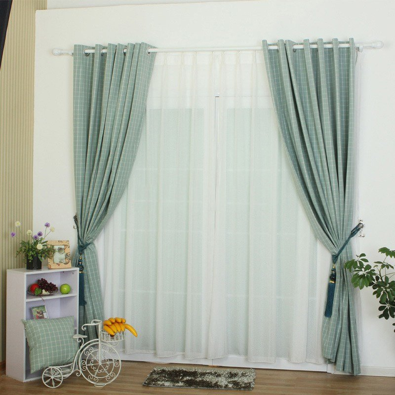 Best Atrovirens Color Plaid Contemporary Bedroom Curtains With Pictures