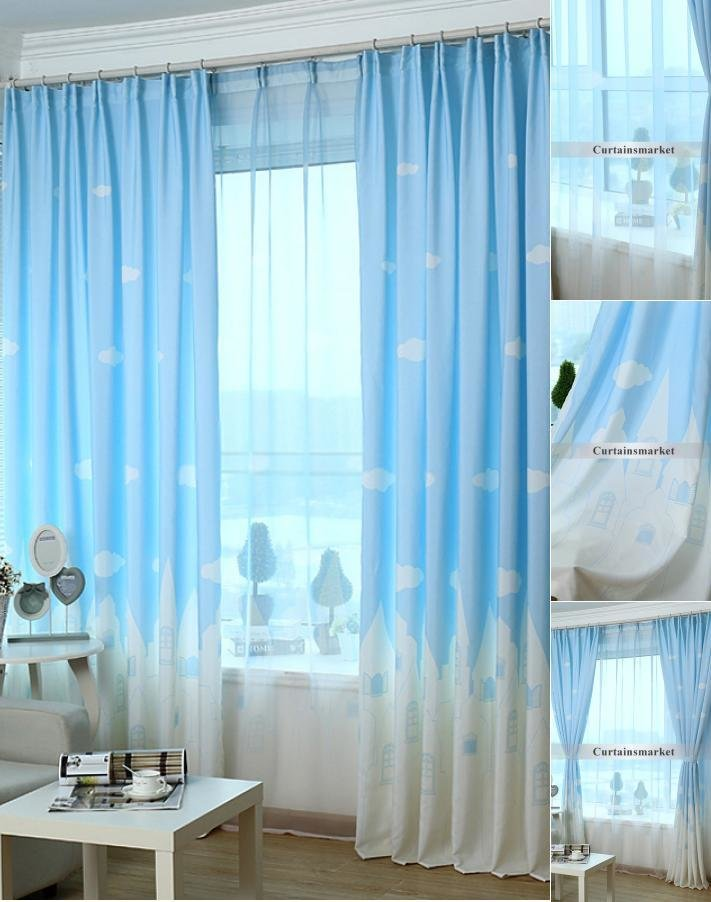 Best Cartoon Kids Bedroom Clouds Blue Best Window Curtains With Pictures