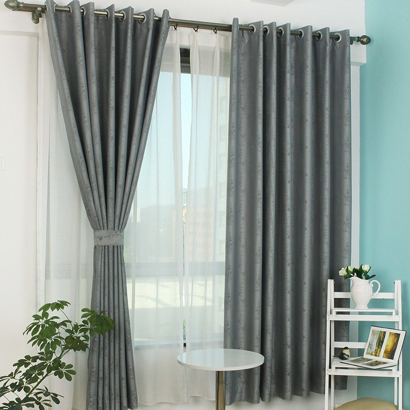Best Dark Gray Polyester Jacquard Blackout Curtain For Bedroom With Pictures