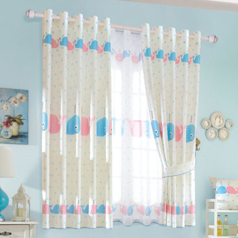 Best Cute Baby Blue Polka Dots Fish Bedroom Kids Curtains With Pictures