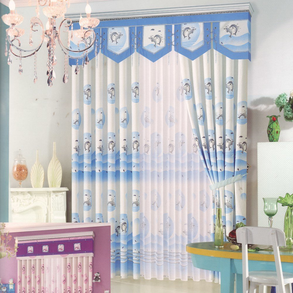 Best Cute Dolphin Patterns Blue Curtains For Bedroom No Valance With Pictures