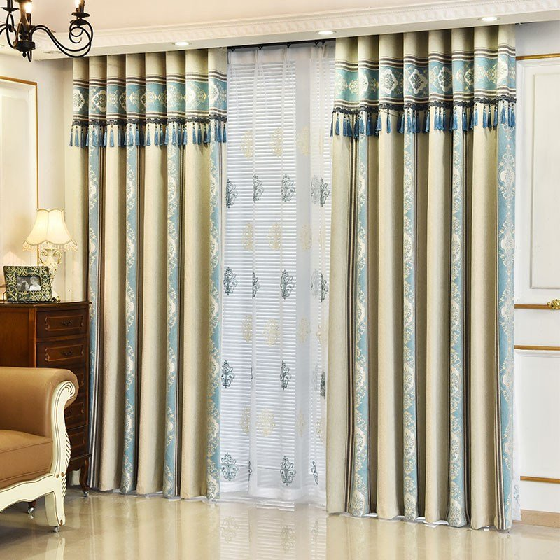 Best Blue Damask Jacquard Faux Suede Thermal Bedroom Curtains With Pictures
