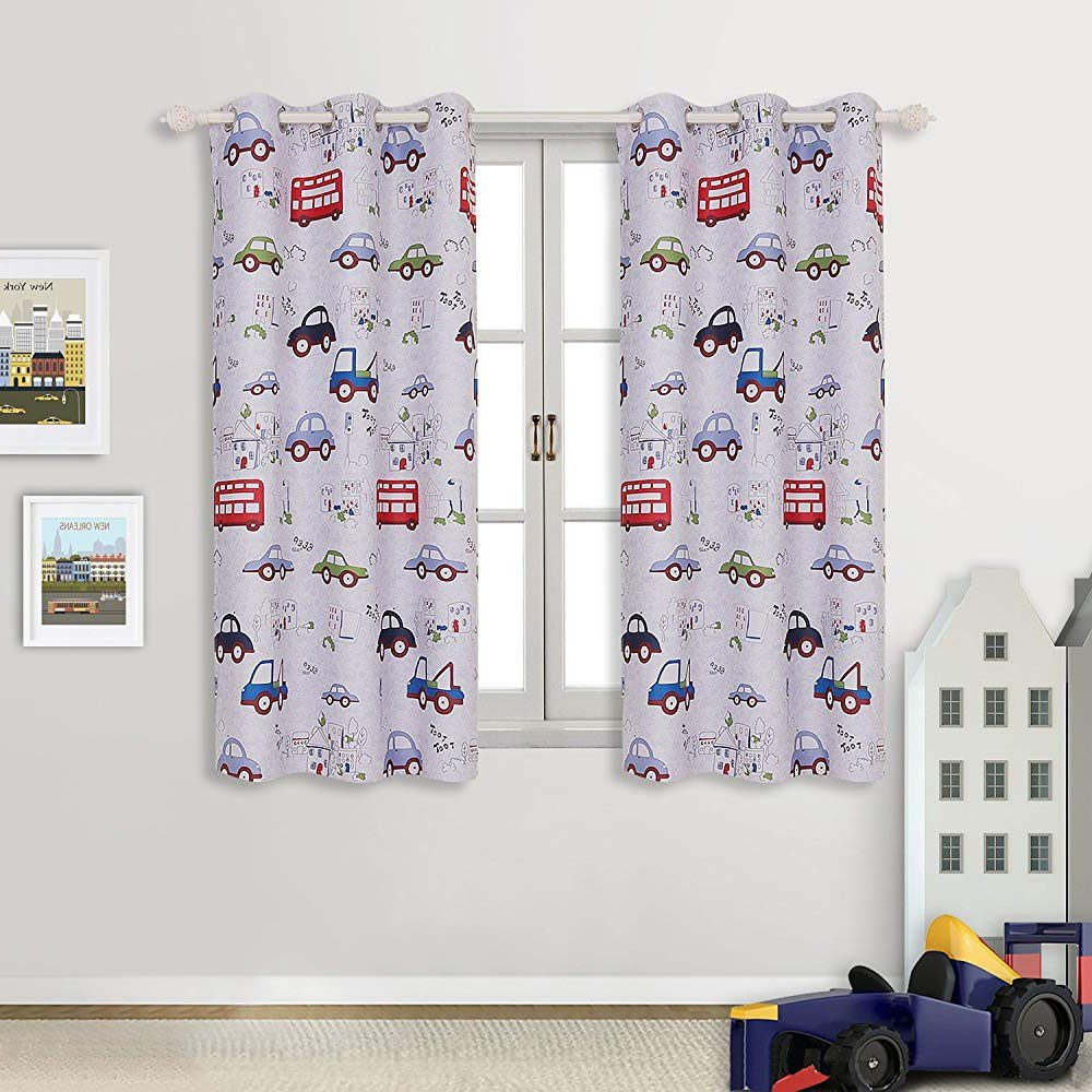 Best Cute Kids Boys Bedroom Cartoon Car Nursery Playroom Window Curtains Drapes With Pictures