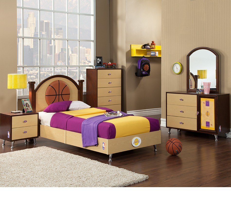 Best Dreamfurniture Com Nba Basketball Los Angeles Lakers Bedroom In A Box With Pictures