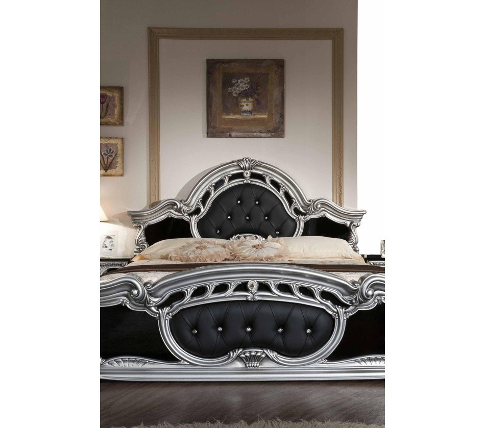 Best Dreamfurniture Com Rococo Italian Classic Black Silver With Pictures