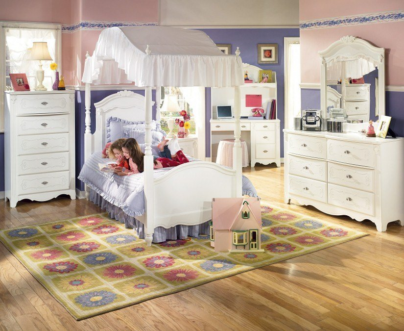Best Canopy Bedroom Suite Ashley Exquisite Twin Girls White Ebay With Pictures