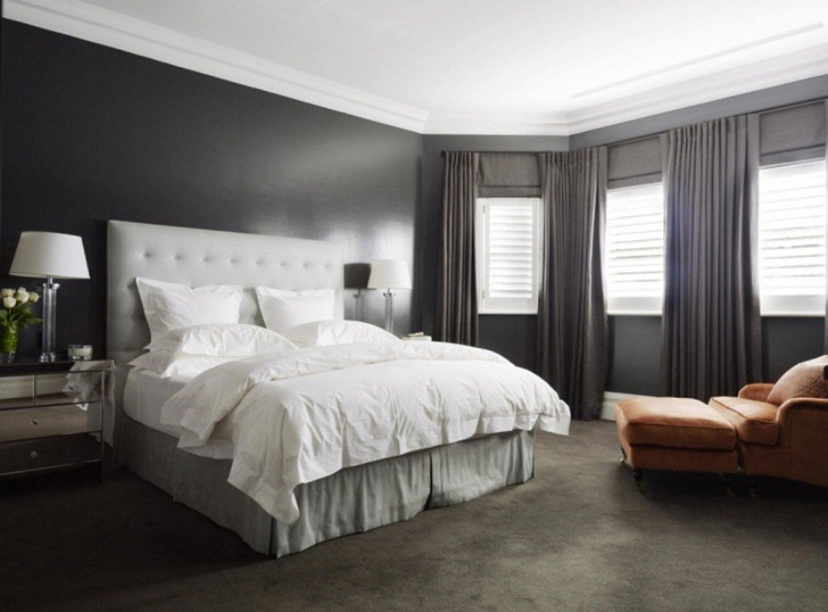 Best Awesome Large Master Bedroom With Grey Headboard Grey Rug With Pictures