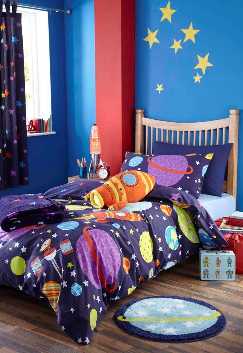 Best Boys Space Rocket Outer Space Bedding Or Curtains Or With Pictures