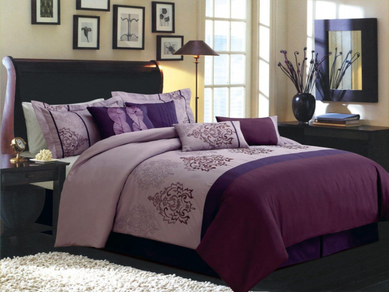 Best Black And Purple Comforter Sets Full Size Bedroom Sets With Pictures