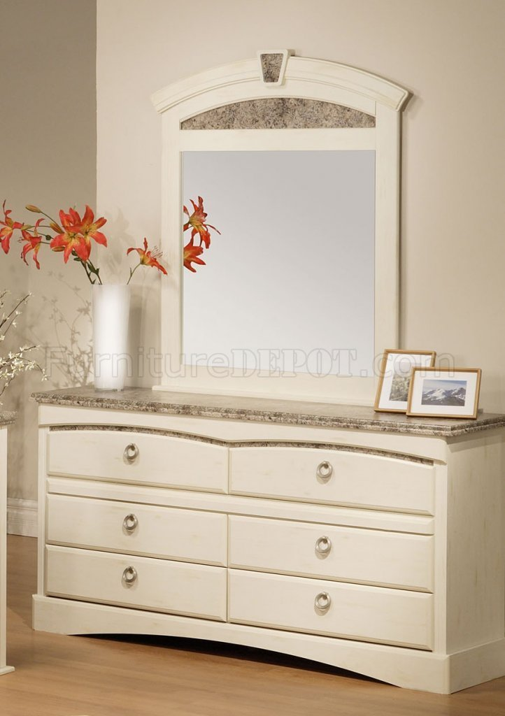 Best White Finish Traditional Bedroom W Faux Marble Accents With Pictures