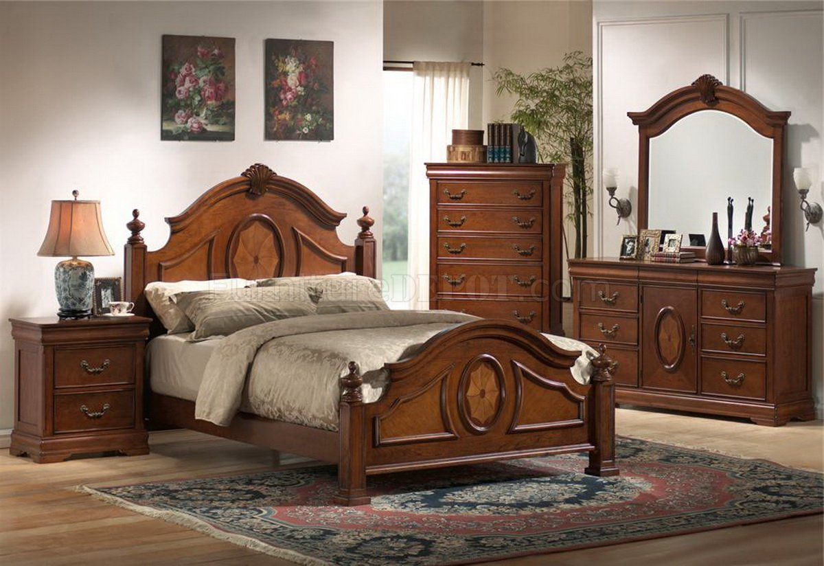 Best Rich Caramel Finish Classic Bedroom Set W Options With Pictures