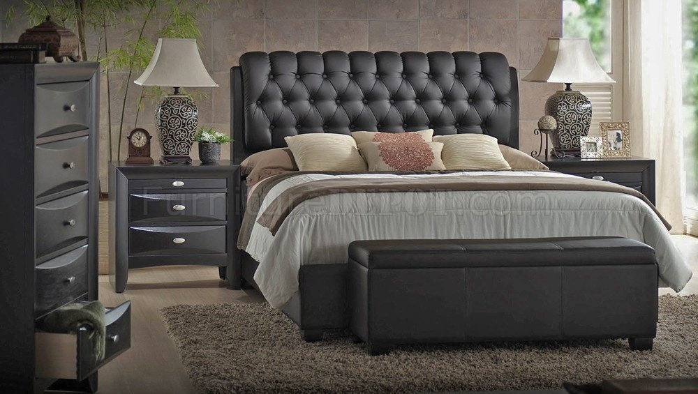 Best 14350 Ireland Bedroom Black By Acme W Upholstered Bed With Pictures