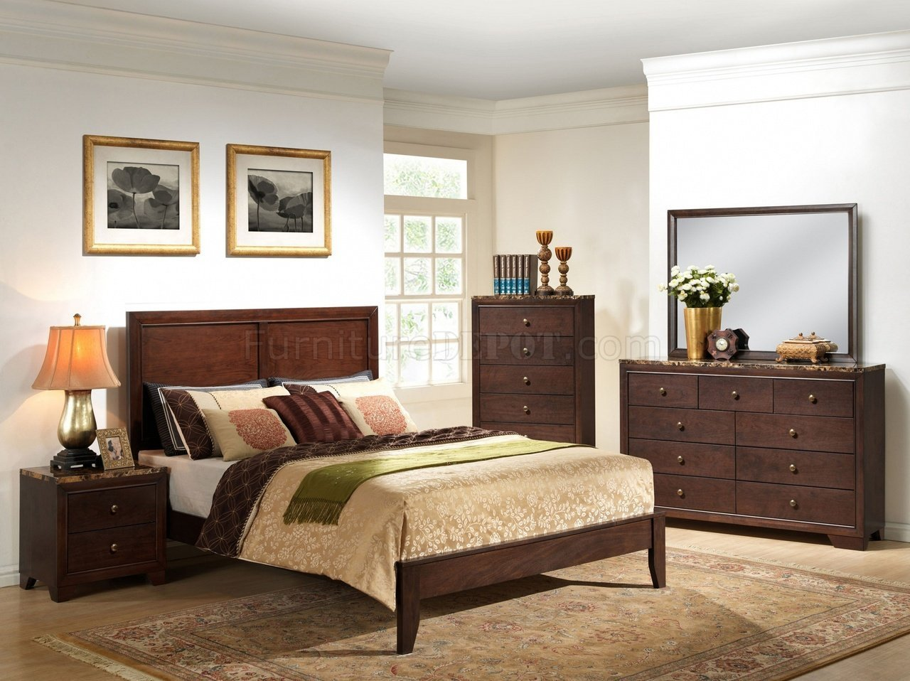 Best B205 Bedroom Set In Cherry Finish W Faux Marble Top Casegoods With Pictures
