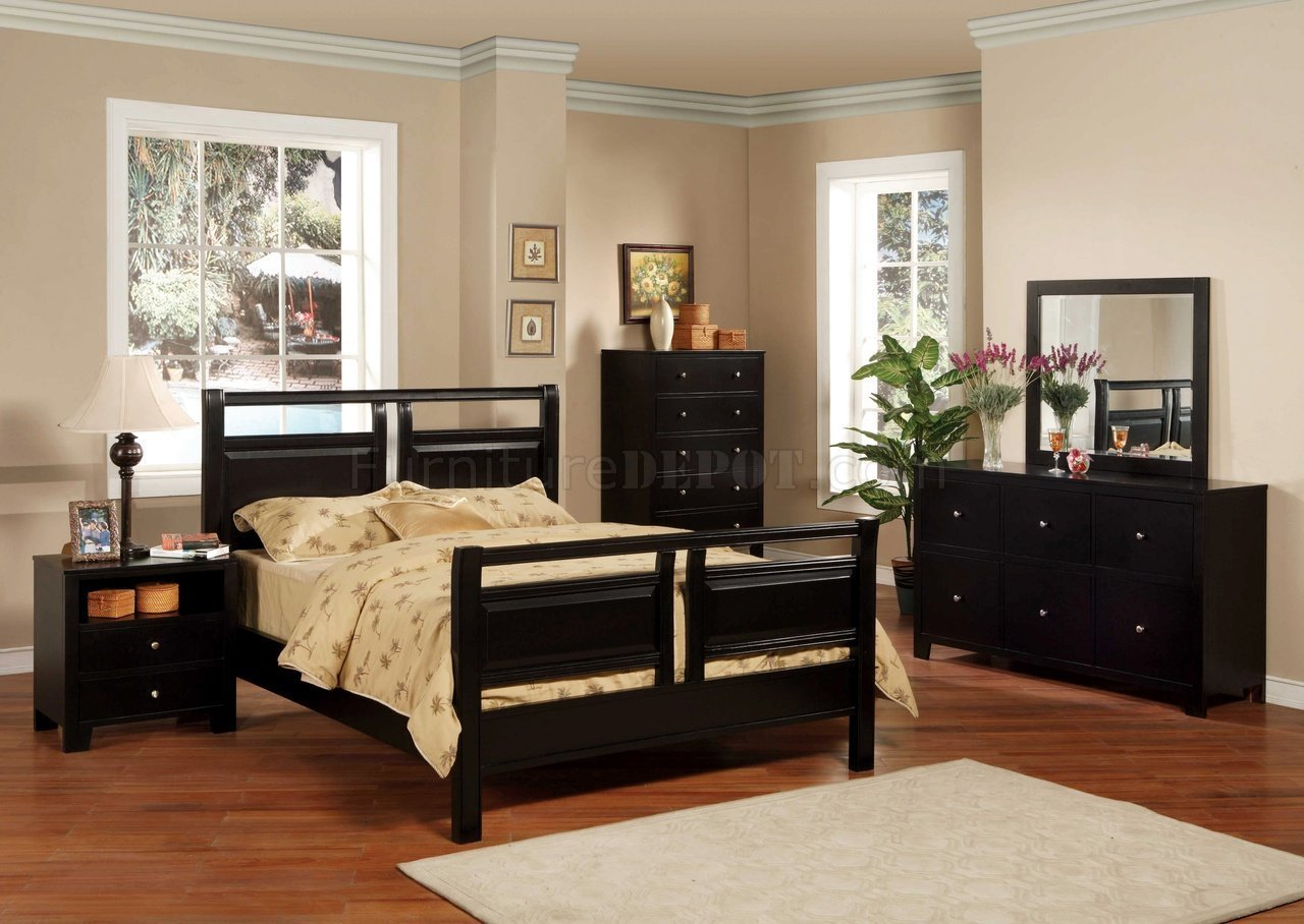 Best Black Finish Modern 5Pc Bedroom Set W Queen Or Full Bed With Pictures