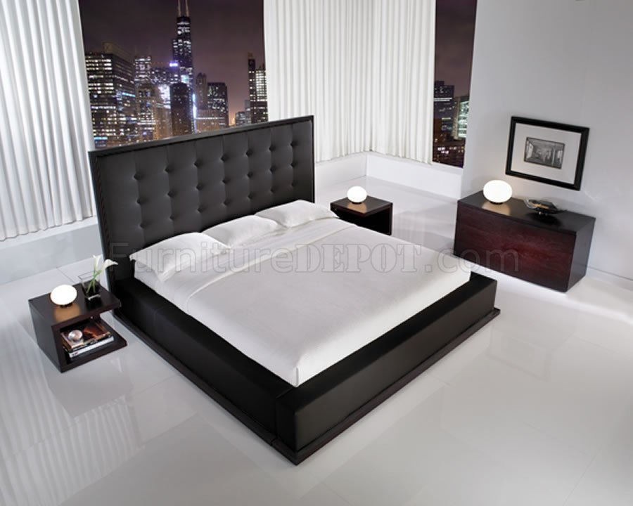Best Black Full Leather Ludlow Bedroom Set W Oversized With Pictures