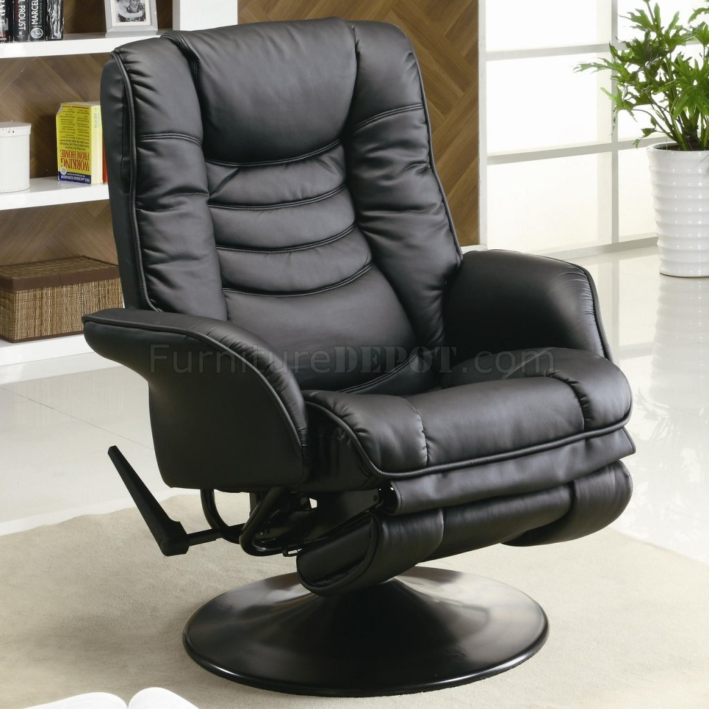 Best Black Leatherette Modern Swivel Recliner Chair W Round Base With Pictures