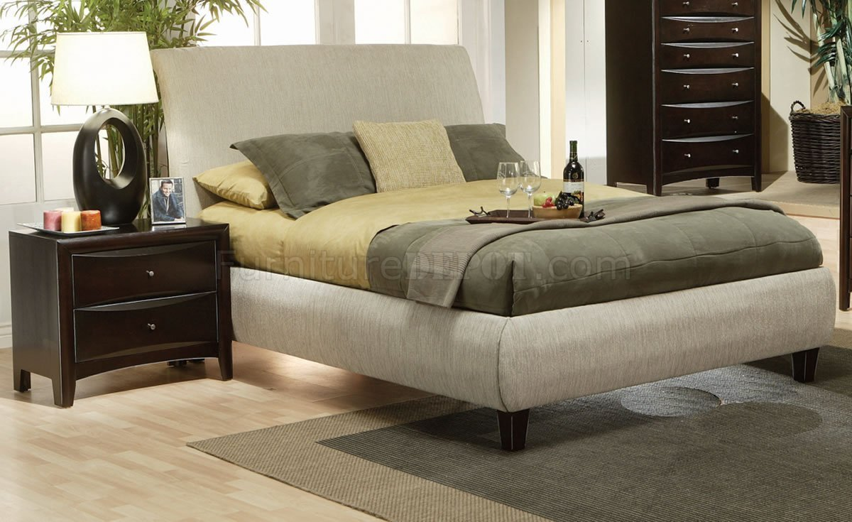 Best Contemporary Bedroom W Beige Fabric Upholstered Bed With Pictures