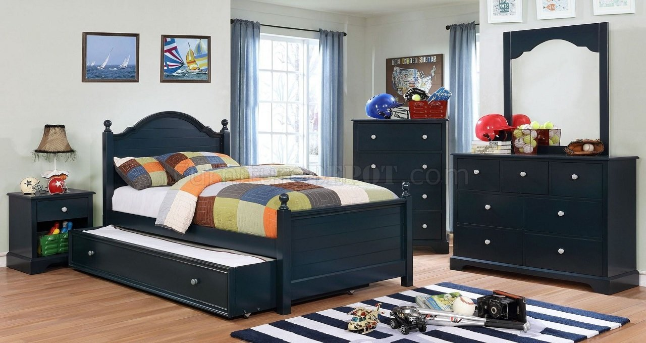 Best Diane 4Pc Youth Bedroom Set Cm7158Bl In Navy Blue W Options With Pictures