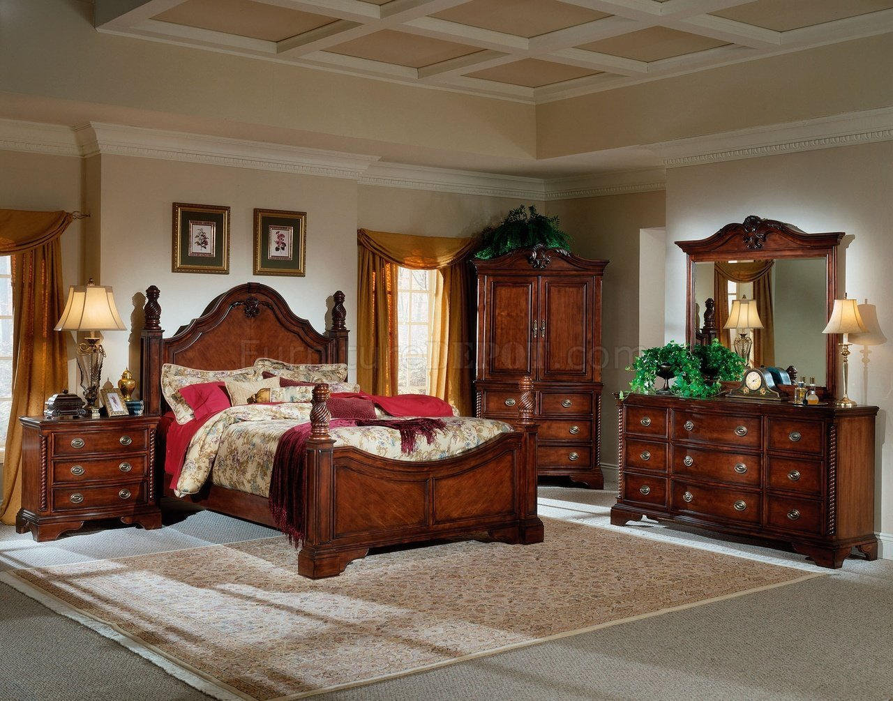 Best Rich Cherry Finish Classic Bedroom W Hand Carving Details With Pictures