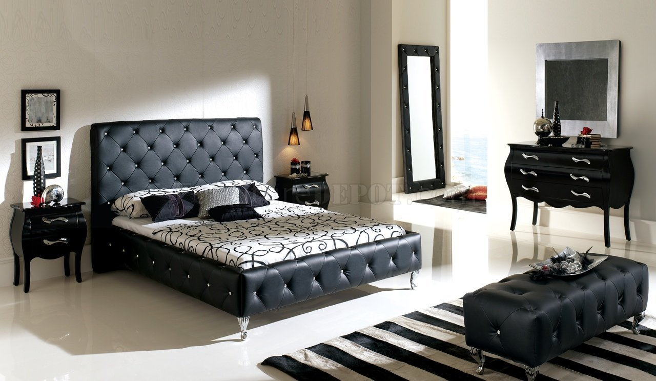 Best Nelly Bedroom By Esf With Black Tufted Leather Headboard With Pictures
