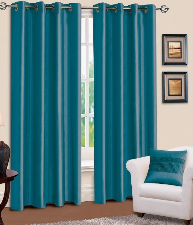 Best Faux Silk Curtains Teal Bedrooms Blue Curtains Teal Blue With Pictures