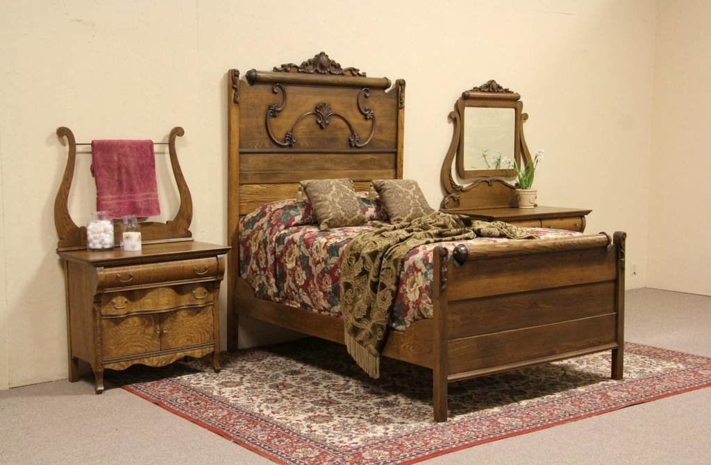 Best Oak Victorian 1900 Antique 3 Pc Bedroom Set Full Size With Pictures