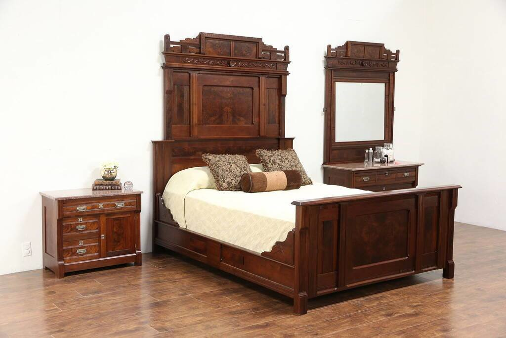 Best Victorian Eastlake Antique 3 Pc Queen Size Walnut Bedroom With Pictures